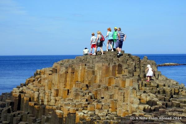 Even children climb the natural rock steps