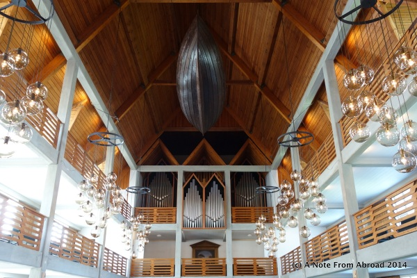 Boat hanging from the ceiling