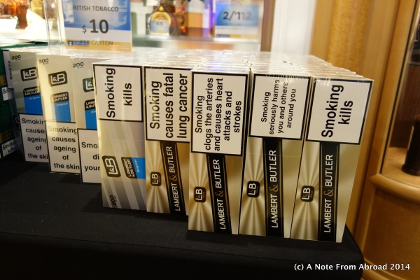 They sell many things in the onboard shops, but I am amazed when people still buy cigarettes