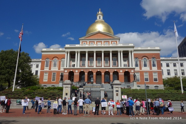 State House with a protest in process