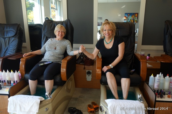 Joanne and Mary Beth having a much needed Mani/Pedi