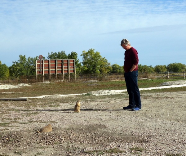 Tim having a face to face with a prairie dog