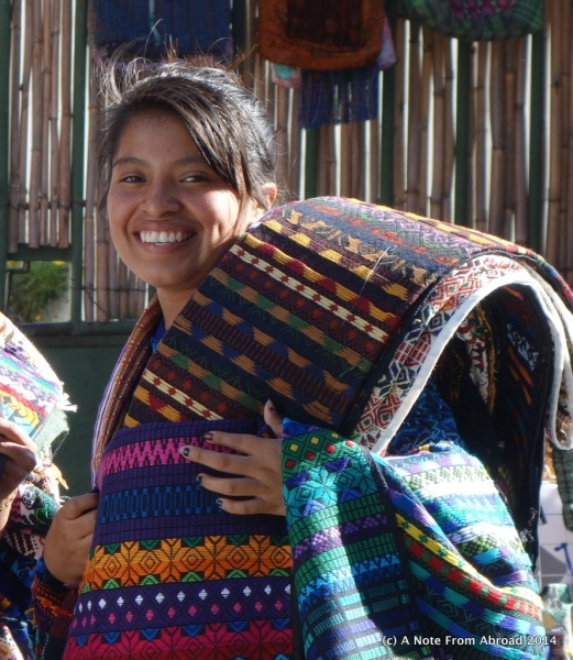 Mayan woman selling woven goods