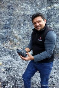 Hugo demonstrating how to shape obsidian