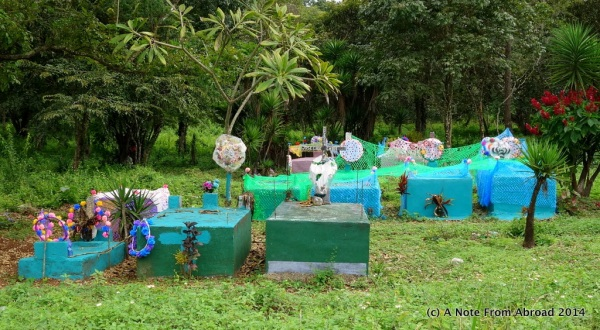 Brightly painted burial plots