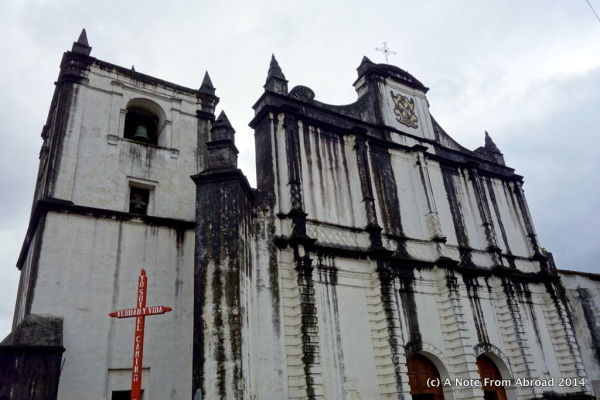 Church on the central plaza, Coban