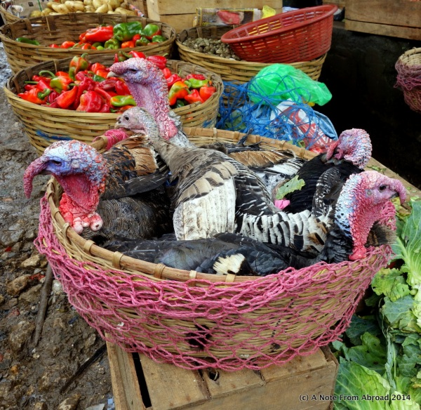 Baskets of fruit and turkeys