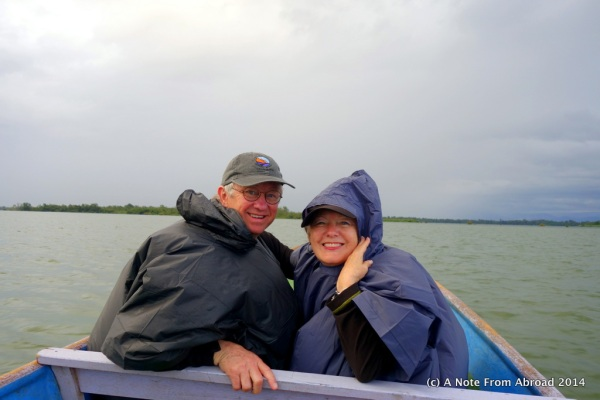 Tim and Joanne snuggled up in our warm, dry rain parkas