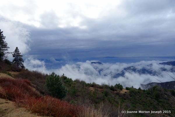 San Bernardino Mountains with a layer of fog