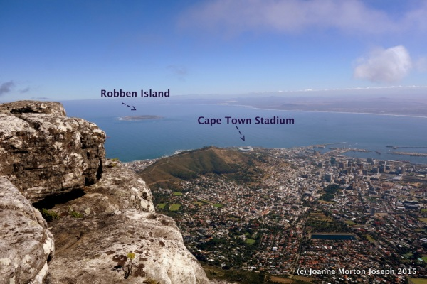 Looking down upon Cape Town with Robben Island in the harbor.