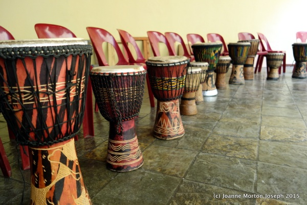 Drums used for training. Made from hardwood and animal skins