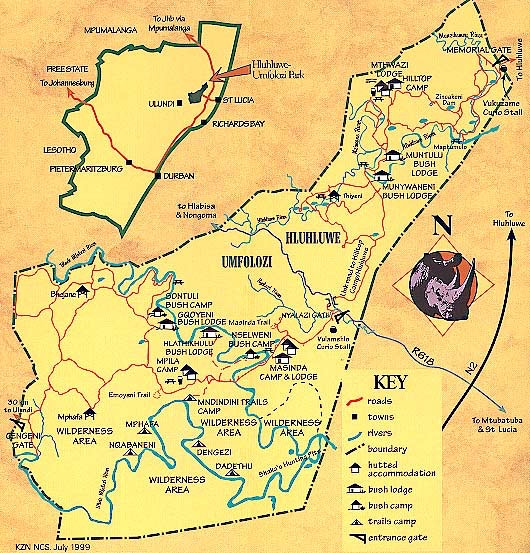 Map of Hluhluwe Game Reserve courtesy of hluhluwegamereserve.com