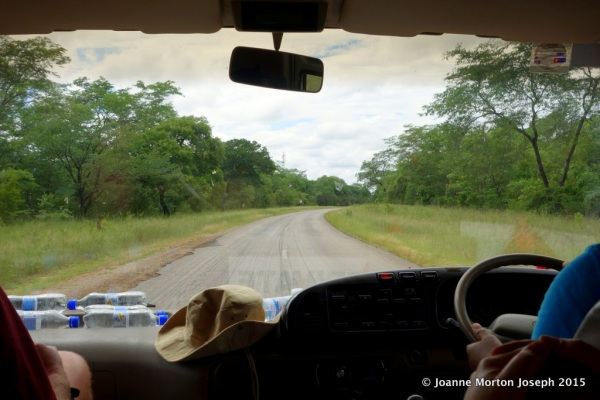 Looking out the front window on our bus as we go down the highway in Zimbabwe