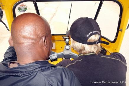 Joanne learning to drive a Tuk Tuk