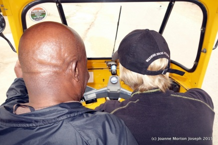 Joanne learning to drive a Tuk Tuk