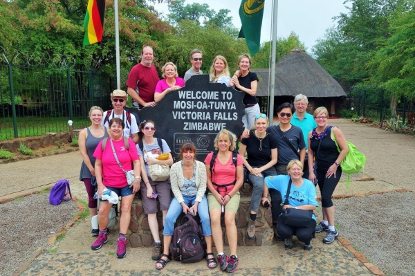 Most of our group at the entrance to Victoria Falls