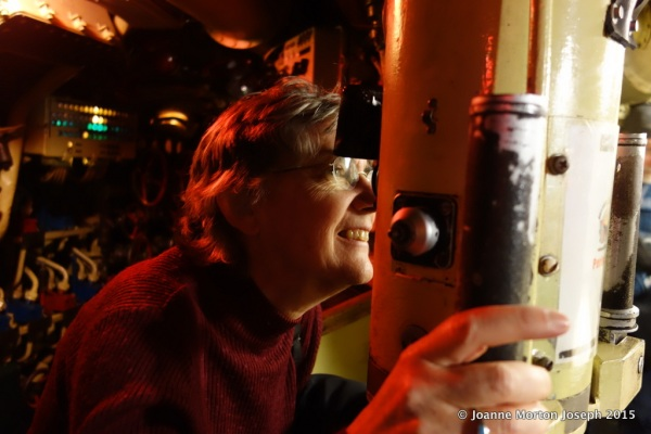 My sister, Jan, looking at the periscope
