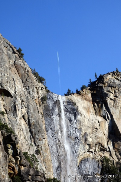 Bridalveil Falls with jet stream at the top