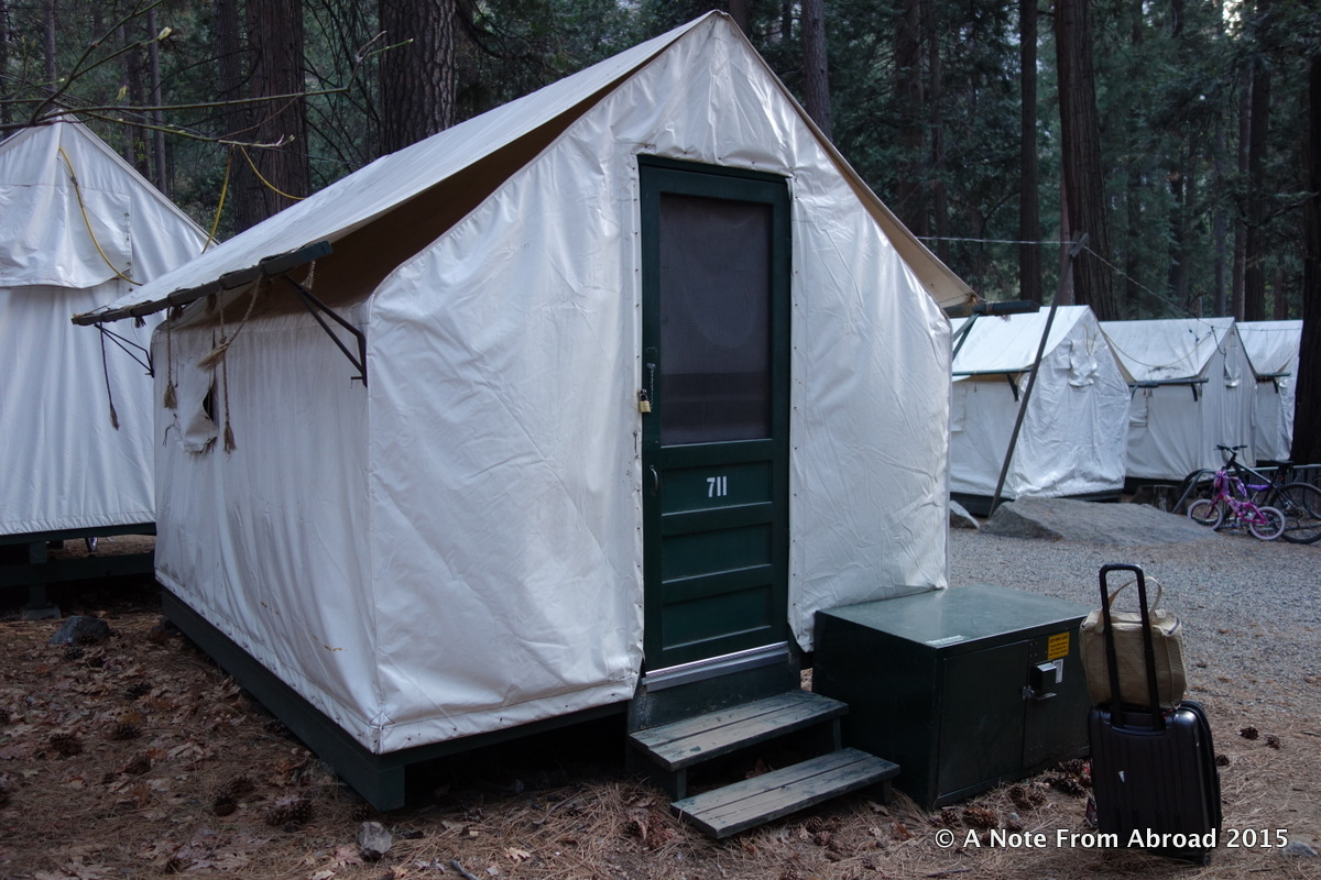Our tent cabin at Curry Village & Staying in a tent cabin at Curry Village in Yosemite National Park ...
