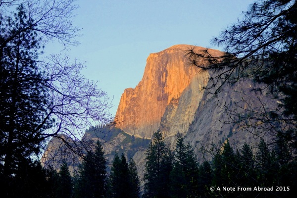 Half Dome with late afternoon sun lighting up the face