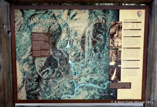 Map of Yosemite Falls area