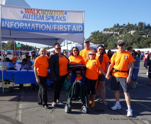 Our T-Rex team for the Autism Speaks 5K walk at the Rose Bowl