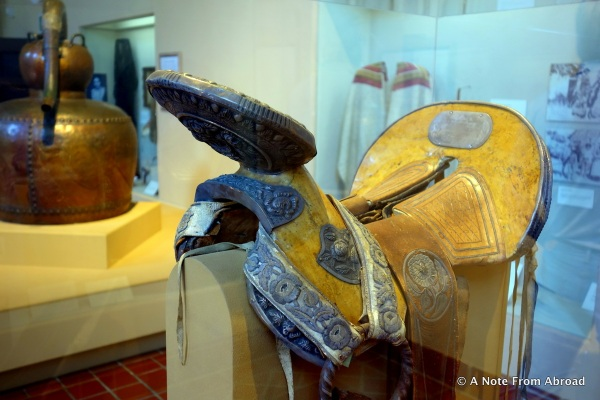 Silver and leather saddle originally from Mexico, dated 1872