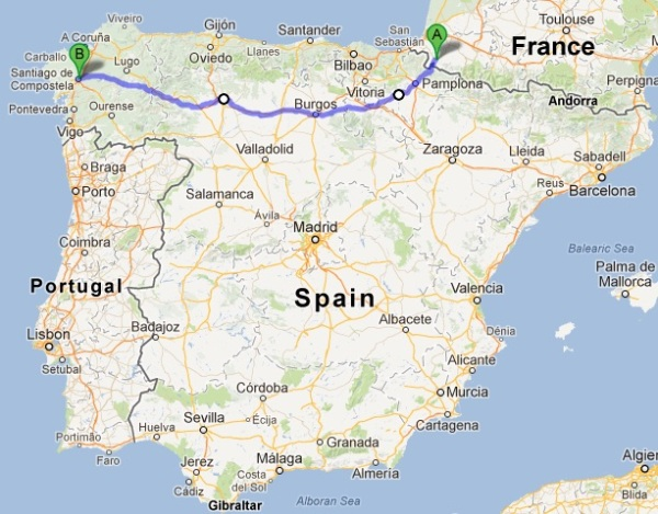 The Camino de Santiago route