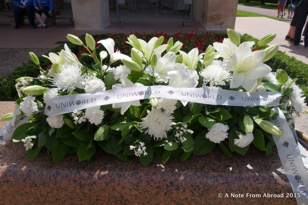 Bouquet left by our Uniworld Cruises to honor the American soldiers