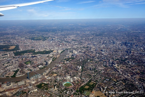 Flying over London just before we landed at Heathrow Airport