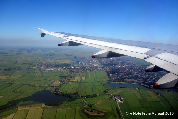 About to land in Amsterdam