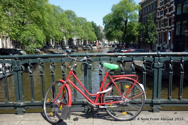 Bikes are parked all along the bridges and sides of the canals, as well as just about every where else in Amsterdam