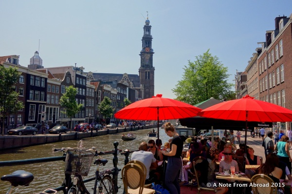 Side walk cafes line many of the canals