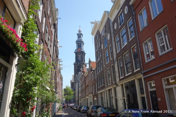 The tall steeple in the background is another church located right near the Anne Frank house.