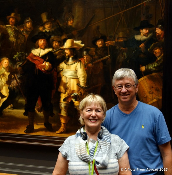 Tim and Joanne in front of Night Watch, Rembrandt