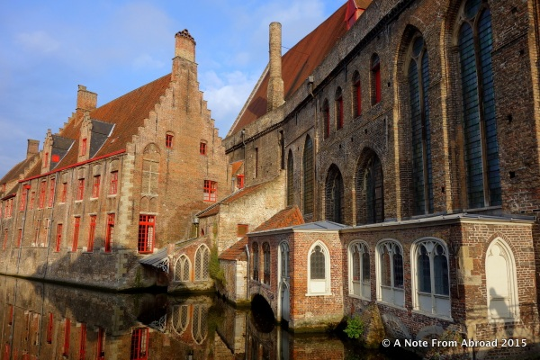 Along one of several canals in Brugge, Belgium ~ Morning sun and reflections in the water