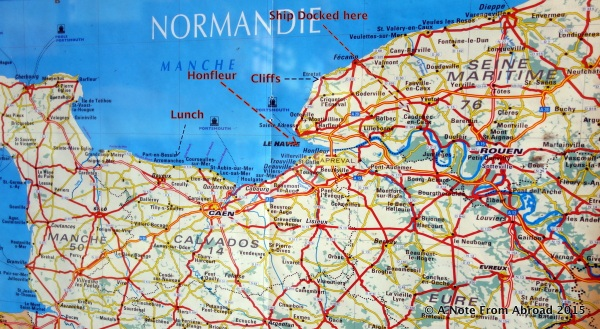 Map of Normandy showing location of ship, Honfleur, lunch stop and cliffs of Etretat.