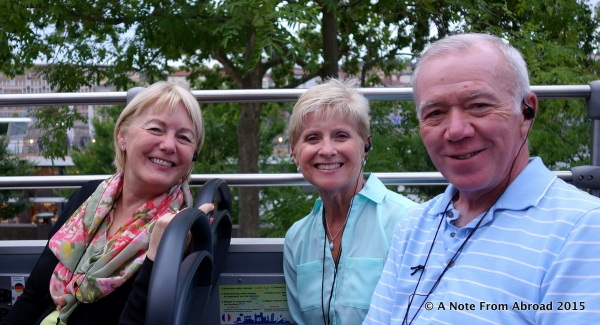 Joanne with Sandy and Steve on the open air bus