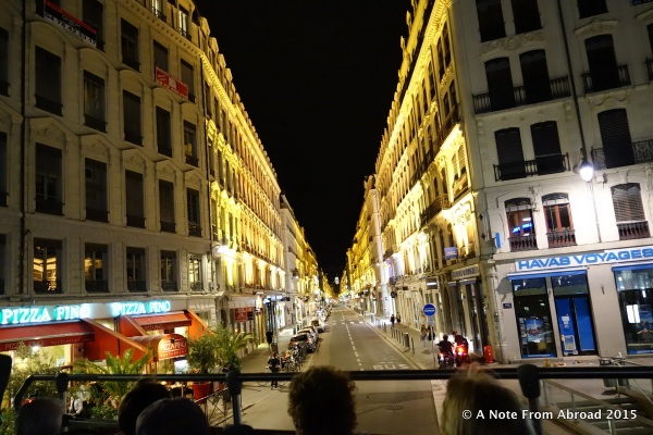 Lyon streets at night