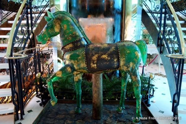 Full size glass horse welcomed us on-board the SS Catherine