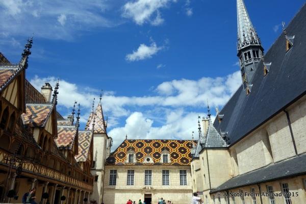 Famous tile rooftops of the Hospices de Beaune