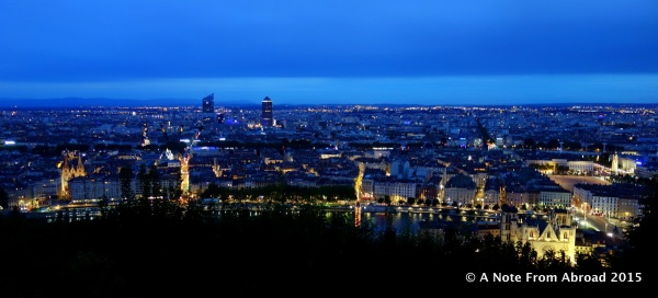 Lyon lights at night