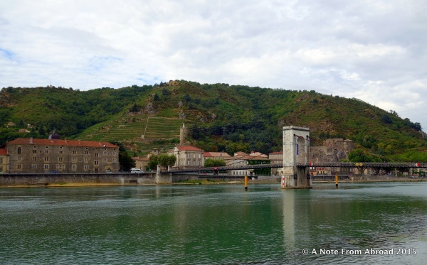 Looking across the Rhone River toward Tournon
