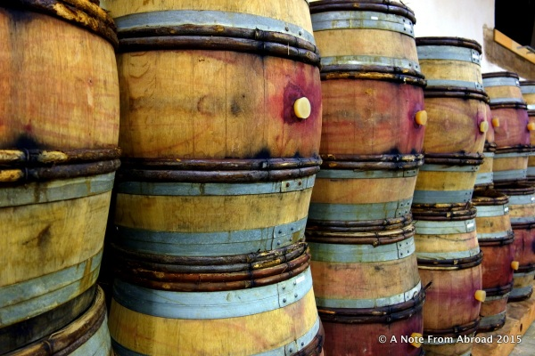 Wine is aged in oak barrels