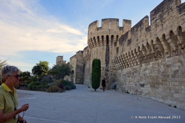 Rampart walls that circle the old town of Avignon