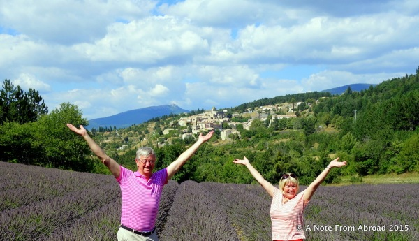 We found a lavender field still in bloom with a fabulous background town