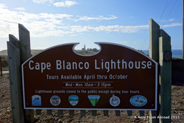 Cape Blanco Lighthouse (look through the top of the sign)