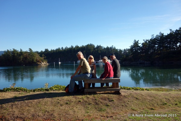 The four of us taking a hike on Sucia Island