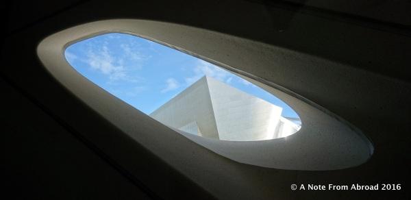 Walt Disney Concert Hall through a window