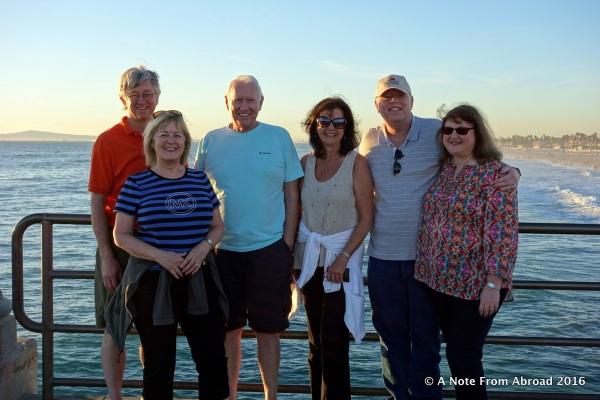 Tim, Joanne, Dick, Karen, Paul, Linda on the pier at Huntington Beach